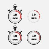 Timer 19 seconds on gray background . Stopwatch icon set. Timer icon. Time check. Seconds timer, seconds counter. Timing device. Four options. EPS 10 vector vector illustration