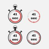 Timer 41 seconds on gray background . Stopwatch icon set. Timer icon. Time check. Seconds timer, seconds counter. Timing device. Four options. EPS 10 vector royalty free illustration