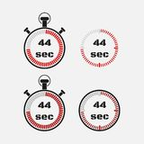 Timer 44 seconds on gray background . Stopwatch icon set. Timer icon. Time check. Seconds timer, seconds counter. Timing device. Four options. EPS 10 vector Royalty Free Stock Images