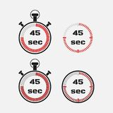 Timer 45 seconds on gray background . Stopwatch icon set. Timer icon. Time check. Seconds timer, seconds counter. Timing device. Four options. EPS 10 vector Stock Photo