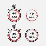 Timer 48 seconds on gray background . Stopwatch icon set. Timer icon. Time check. Seconds timer, seconds counter. Timing device. Four options. EPS 10 vector vector illustration