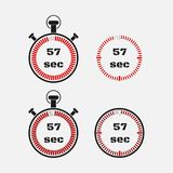 Timer 57 seconds on gray background . Stopwatch icon set. Timer icon. Time check. Seconds timer, seconds counter. Timing device. Four options. EPS 10 vector stock illustration