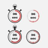 Timer 36 seconds on gray background . Stopwatch icon set. Timer icon. Time check. Seconds timer, seconds counter. Timing device. Four options. EPS 10 royalty free illustration