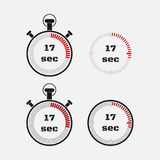 Timer 17 seconds on gray background . Stopwatch icon set. Timer icon. Time check. Seconds timer, seconds counter. Timing device. Four options. EPS 10 vector Royalty Free Stock Photo