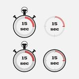 Timer 15 seconds on gray background . Stopwatch icon set. Timer icon. Time check. Seconds timer, seconds counter. Timing device. Four options. EPS 10 vector Royalty Free Stock Photos