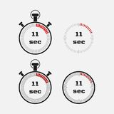 Timer 11 seconds on gray background . Stopwatch icon set. Timer icon. Time check. Seconds timer, seconds counter. Timing device. Four options. EPS 10 vector vector illustration