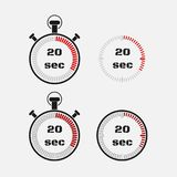Timer 20 seconds on gray background . Stopwatch icon set. Timer icon. Time check. Seconds timer, seconds counter. Timing device. Four options. EPS 10 vector royalty free illustration