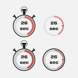 Timer 26 seconds on gray background . Stopwatch icon set. Timer icon. Time check. Seconds timer, seconds counter. Timing device. Four options. EPS 10 vector Royalty Free Stock Images