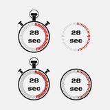 Timer 28 seconds on gray background . Stopwatch icon set. Timer icon. Time check. Seconds timer, seconds counter. Timing device. Four options. EPS 10 vector Stock Illustration