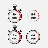 Timer 24 seconds on gray background . Stopwatch icon set. Timer icon. Time check. Seconds timer, seconds counter. Timing device. Four options. EPS 10 Stock Photo