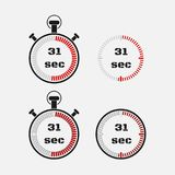 Timer 31 seconds on gray background . Stopwatch icon set. Timer icon. Time check. Seconds timer, seconds counter. Timing device. Four options. EPS 10 Royalty Free Stock Photos