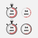 Timer 34 seconds on gray background . Stopwatch icon set. Timer icon. Time check. Seconds timer, seconds counter. Timing device. Four options. EPS 10 vector stock illustration
