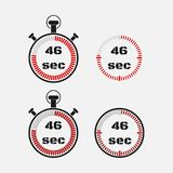 Timer 46 seconds on gray background . Stopwatch icon set. Timer icon. Time check. Seconds timer, seconds counter. Timing device. Four options. EPS 10 vector Royalty Free Stock Photos