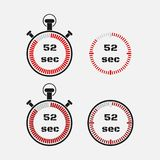 Timer 52 seconds on gray background . Stopwatch icon set. Timer icon. Time check. Seconds timer, seconds counter. Timing device. Four options. EPS 10 vector Royalty Free Stock Images