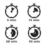 Timer set, vector symbols. Royalty Free Stock Photography