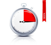 Timer for siesta. Stop watch with red quarter of the dial Stock Photo