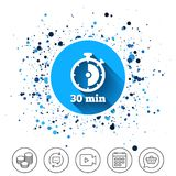 Timer sign icon. 30 minutes stopwatch symbol. Button on circles background. Timer sign icon. 30 minutes stopwatch symbol. Calendar line icon. And more line Stock Photography