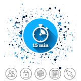 Timer sign icon. 15 minutes stopwatch symbol. Royalty Free Stock Photo