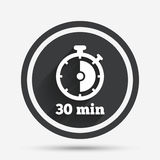Timer sign icon. 30 minutes stopwatch symbol. Circle flat button with shadow and border. Vector Royalty Free Stock Photos