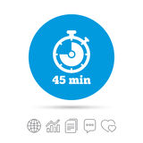 Timer sign icon. 45 minutes stopwatch symbol. Copy files, chat speech bubble and chart web icons. Vector vector illustration
