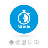 Timer sign icon. 30 minutes stopwatch symbol. Copy files, chat speech bubble and chart web icons. Vector Stock Photos