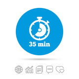 Timer sign icon. 35 minutes stopwatch symbol. Copy files, chat speech bubble and chart web icons. Vector Royalty Free Stock Photo