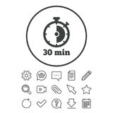 Timer sign icon. 30 minutes stopwatch symbol. Document, Chat and Paper clip line signs. Question, Pencil and Calendar line icons. Star, Download and Shopping Stock Image