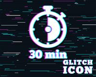 Timer sign icon. 30 minutes stopwatch symbol. Glitch effect. Timer sign icon. 30 minutes stopwatch symbol. Background with colored lines. Vector Stock Images
