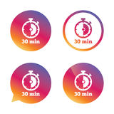 Timer sign icon. 30 minutes stopwatch symbol. Gradient buttons with flat icon. Speech bubble sign. Vector Royalty Free Stock Photo
