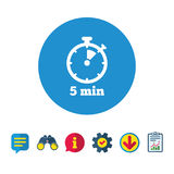 Timer sign icon. 5 minutes stopwatch symbol. Royalty Free Stock Photos