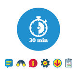 Timer sign icon. 30 minutes stopwatch symbol. Information, Report and Speech bubble signs. Binoculars, Service and Download icons. Vector Stock Photos