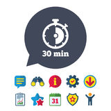 Timer sign icon. 30 minutes stopwatch symbol. Information, Report and Speech bubble signs. Binoculars, Service and Download, Stars icons. Vector Stock Photo