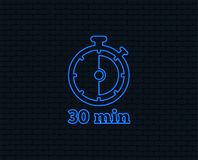 Timer sign icon. 30 minutes stopwatch symbol. Neon light. Timer sign icon. 30 minutes stopwatch symbol. Glowing graphic design. Brick wall. Vector Royalty Free Stock Image