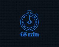 Timer sign icon. 45 minutes stopwatch symbol. Neon light. Timer sign icon. 45 minutes stopwatch symbol. Glowing graphic design. Brick wall. Vector Stock Photography