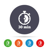 Timer sign icon. 30 minutes stopwatch symbol. Stock Photography