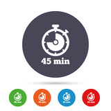 Timer sign icon. 45 minutes stopwatch symbol. Round colourful buttons with flat icons. Vector stock illustration