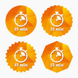 Timer sign icon. 15 minutes stopwatch symbol. Stock Image