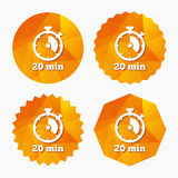 Timer sign icon. 20 minutes stopwatch symbol. Stock Images