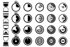 Timer, stopwatch and hourglass vector icon set Stock Photography
