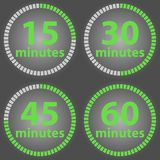 Timer of time with minutes isolated on a black background. Flat design  illustration Royalty Free Stock Photography