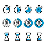 Timer vector icons. Timer icons. Vector  timers icons and stopwatch signs Royalty Free Stock Photos