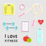 Timer whater, dumbbell, apple, jumping rope, scale. Note heart I love fitness icon set isolated Flat design Vector illustration Stock Image