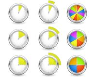 Timers. Set of timers with different time interval Stock Images