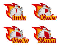Timers set. 1 minute, 10 minutes, 15 and 20 minutes timers with fire on background vector illustration
