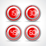 Timers set 15 30 45 60 minutes. Vector illustration Stock Images