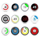Timers set. Twelve different timers. Each timer has twelve positions in hidden layers Royalty Free Stock Image