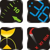 Times. Icons representing fragments of four different chronometers Royalty Free Stock Photography