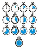 Times icon sets - stop watch, blue colour vector illustration
