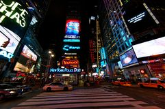 Times Square. The bright lights and taxis of Times Square Royalty Free Stock Photos