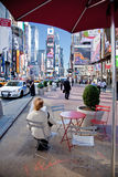 Times Square. NEW YORK, NY - May 5: Police help secure a tranquil, quiet morning in Times Square a few days after the attempted car bombing. Image taken on May 5 stock photo